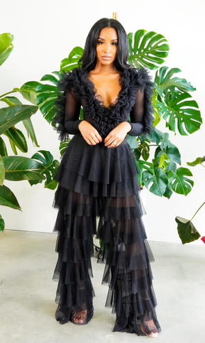 Play No Games | Ruffle Bodysuit- Black PREORDER