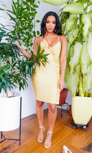 Cute & Sexy l Bandage Dress - Mustard - Cutely Covered
