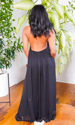 Cute & Casual l Halter Loose Jumpsuit - Black - Cutely Covered