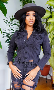 Such a Fashionista | Distressed Denim Jacket - Black - Cutely Covered