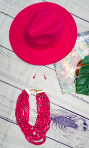 Beaded Bae |  Beaded Necklace Set - Fuchsia