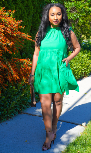 Cute & Effortless | Tiered Dress - Green
