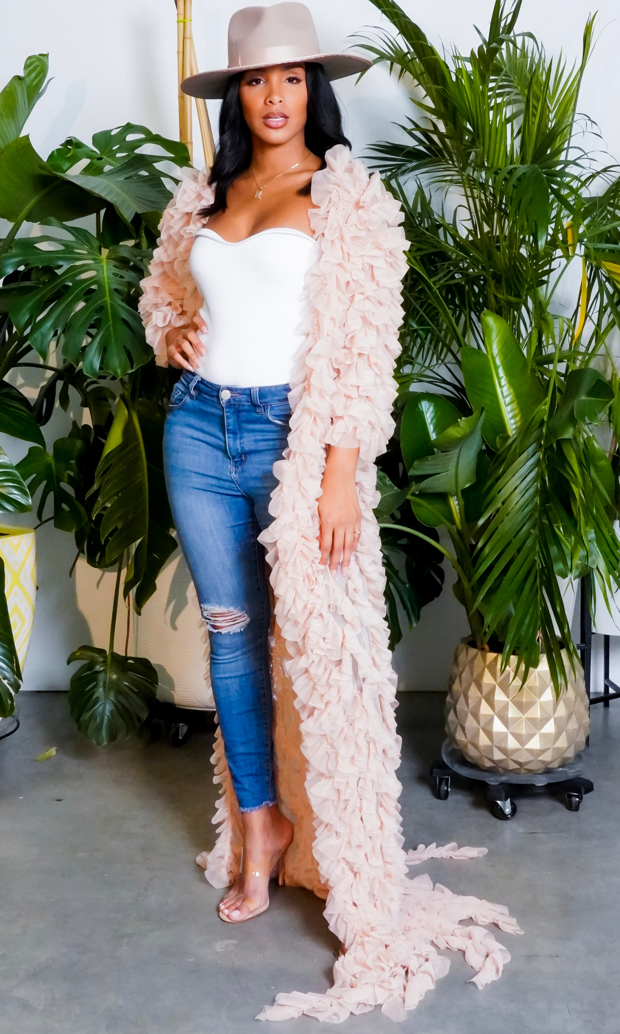 Queen in Ruffles | Ruffle Cardigan Nude