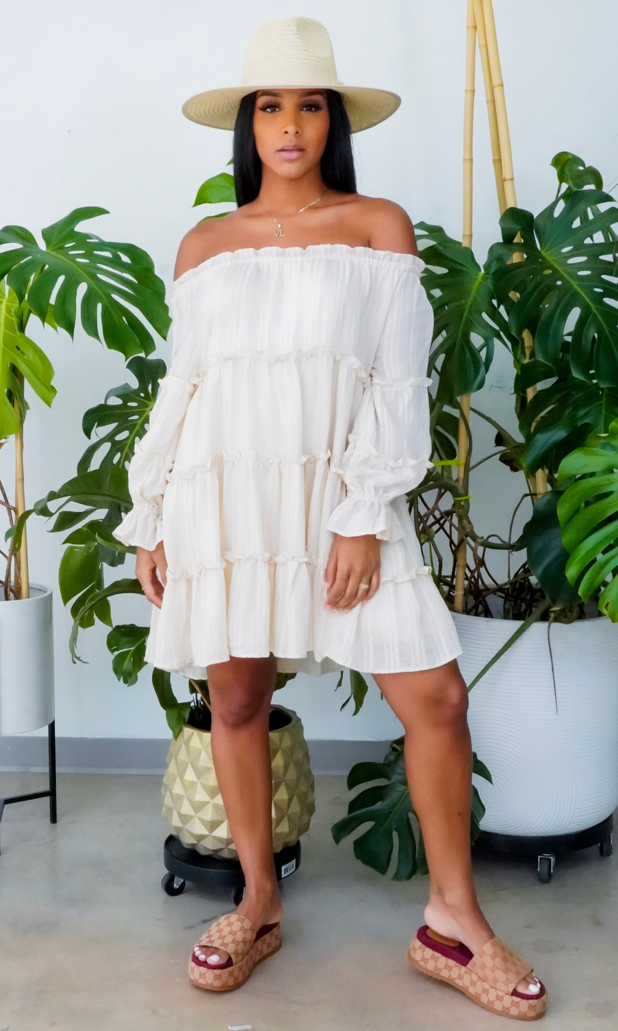 Fun In The Sun | Off The Shoulder Tiered Dress - Cream