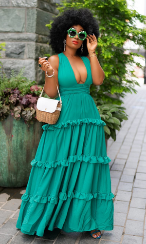 Make A Statement| Halter Layered Dress - Green FINAL SALE