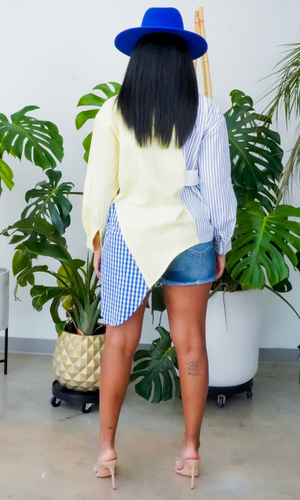 Switch It Up | Mix Plaid Top - Yellow/ Blue