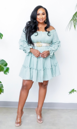 Fun In The Sun | Off The Shoulder Tiered Dress - Sage