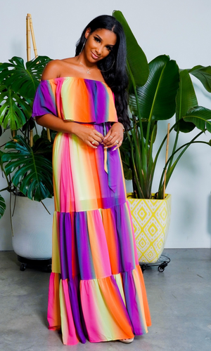 Rise and Shine l Off The Shoulder Colorful Maxi Dress FINAL SALE