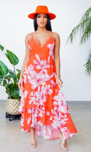 Summer Slay | High- Low Maxi - Red Orange