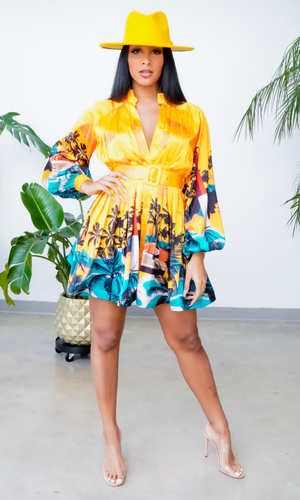 Enjoying the Islands | Print Belted Dress - Mustard