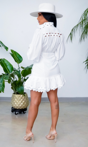 Let Me See You Walk | Wavy Trim Button Up Dress - White  Preorder ships end May