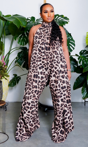 Cute & Casual l Halter Loose Jumpsuit - Leopard