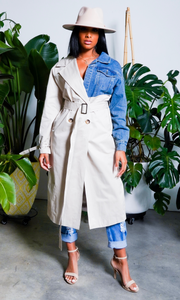 Lady In A Trench | Denim Mix Trench Coat