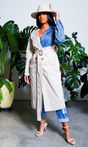 Lady In A Trench | Denim Mix Trench Coat Preorder