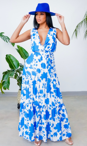 So Classy | V Neck Floral Maxi Dress - White/ Blue