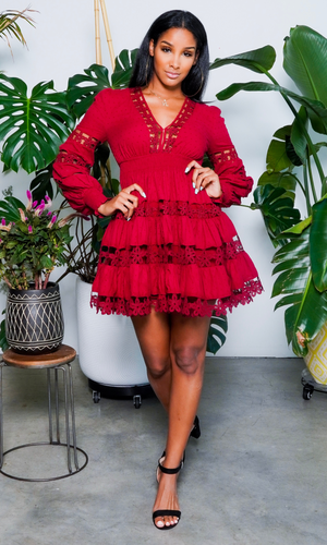 Baby Doll | Embroidery Dress - Burgundy