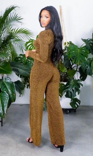 Glam Girl Stretch Metallic Jumpsuit