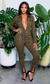Cute & Confident  l Zipper Detail Jumpsuit - Olive