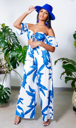 Barbados | Stretch Two Piece Set Blue/White