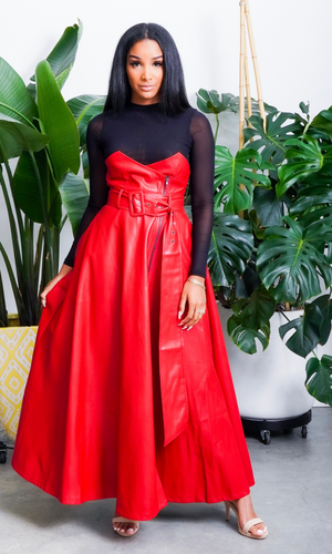 Queenin | High Waist Vegan Leather Skirt Red