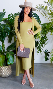 Slay Bae | Cardigan Dress Set - Sage