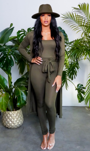 Lady In The Streets | Two Piece Jumpsuit Set - Olive