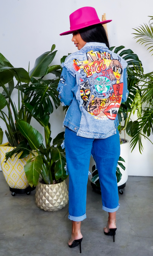 Bossin | Distressed Graphic Denim Jacket