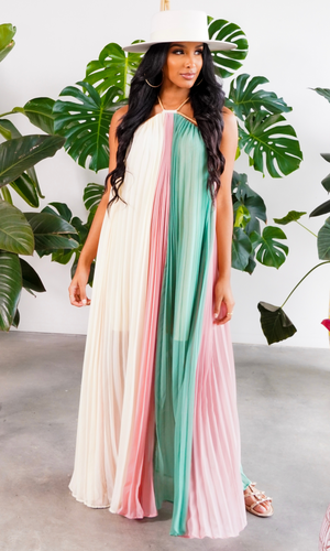 In The Wind Fabulous | Color Block Maxi Dress - Green