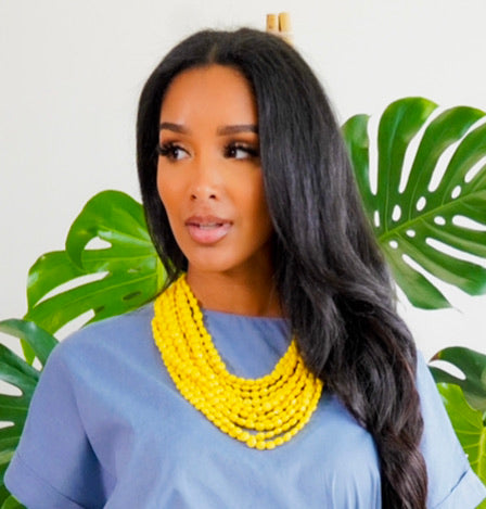 Beaded Bae |  Beaded Necklace Set - Yellow