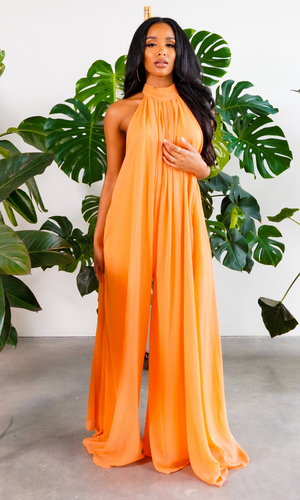 Cute & Casual l Halter Loose Jumpsuit - Orange