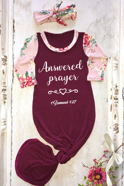 FaithBaby.com Christian Clothing and Apparel Bible Scripture Baby Gown | Answered Prayer Newborn Knotted Baby Gown