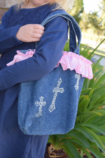 Faith Baby | Denim Rhinestone Cross Purse | Christian Gifts