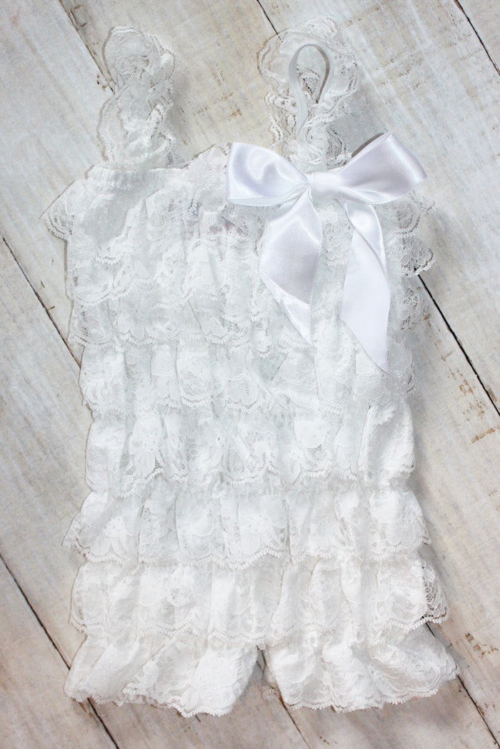 FaithBaby.com | Christian Clothing | Baby Dedication Baptism | Christening| Vintage White Lace Romper