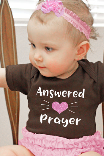 FaithBaby.com Christian Clothing and Apparel | Answered Prayers Baby Girl Onesie