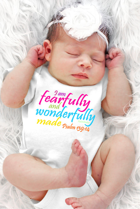 FaithBaby.com Scripture Baby Onesie | I Am Fearfully and Wonderfully Made Baby Girl Onesie