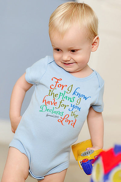 Faith Baby Christian Clothing | Baby Scripture Onesie | For I know the plans I have for you... Baby Boy onesie