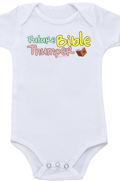 Faith Baby Christian Clothing | Scripture Baby Onesie | Future Bible Thumper Baby Boy Onesie