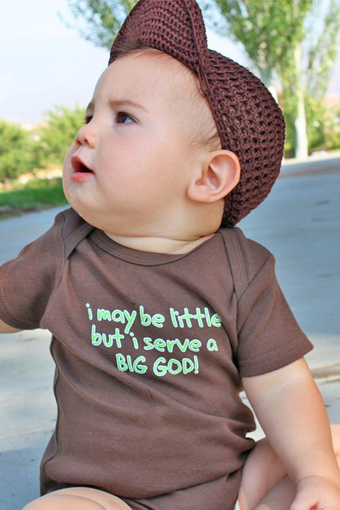 Faith Baby Christian Clothing Baby Scripture Onesie | I May Be Little But I Serve A Big God Baby Boy Onesie