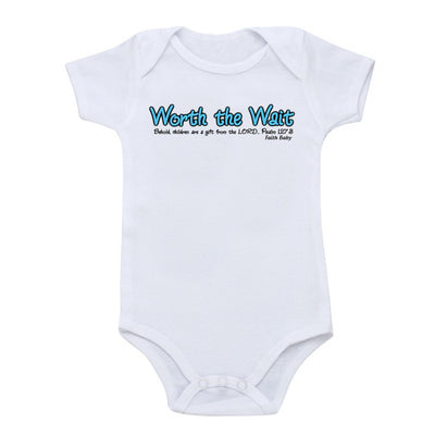 Faith Baby Christian Clothing and Apparel | Worth the Wait Christian Baby Onesie