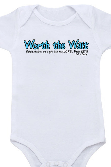 Faith Baby Scripture Onesie | Worth the Wait Christian Baby Boy Onesie