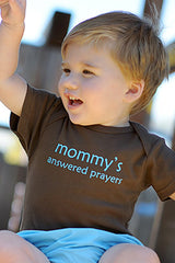 Faith Baby Christian Clothing | Mommys Answered Prayers Baby Brown Boy Onesie