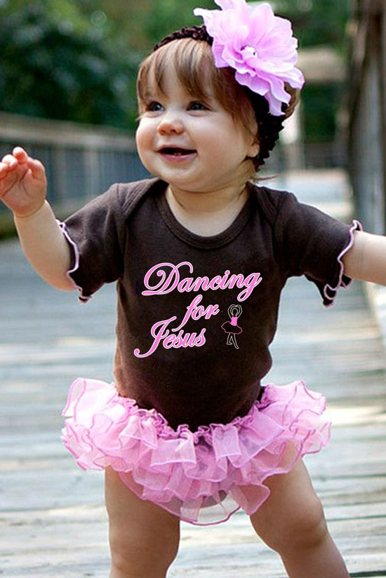Faith Baby Christian Clothing and Apparel | Dancing For Jesus Christian Baby Ruffled Onesie
