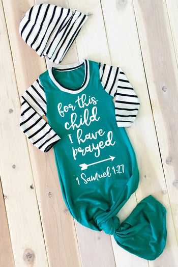 Faith Baby Christian Scripture Baby Gown | For This Child I Have Prayed Knotted Newborn Baby Boy Gown