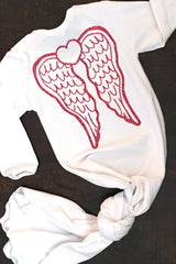 Faith Baby Christian Clothing and Apparel | Hello World Angel Wing Knotted Baby Gown