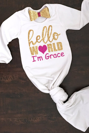 Faith Baby Christian Clothing and Apparel | Hello World Fuchsia Angel Wing Knotted Baby Gown