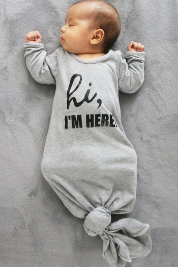 Faith Baby Christian Clothing and Apparel | Hi I'm Here Newborn Baby Boy Gown with Slouchy Beanie