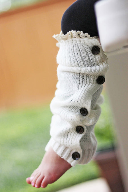 Faith Baby | Ivory Button Up Leg Warmers