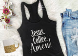 Jesus Coffee Amen Christian Mama Racerback Tank | FaithBaby.com