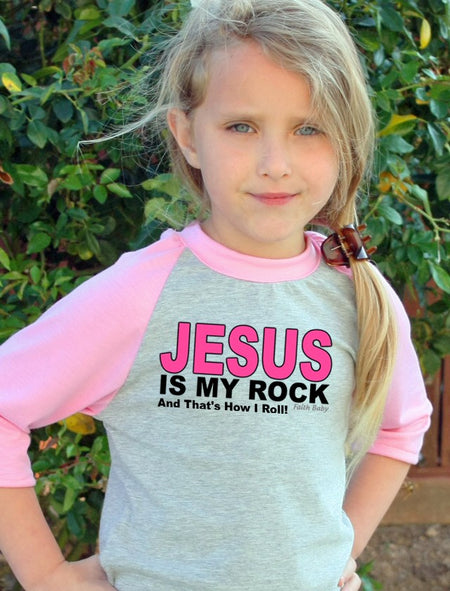 Jesus Is My Rock Christian Raglan Tee | Faith Baby Christian Apparel