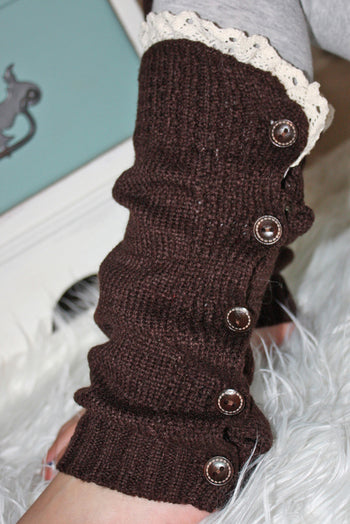 Faith Baby | Mocha Button Leg Warmers